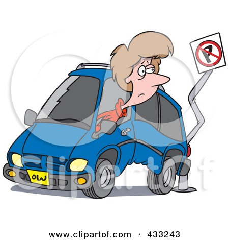 Royalty-Free (RF) Clipart Illustration of a Woman Backing Her Minivan Into A Pole by toonaday