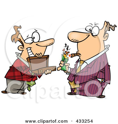 Royalty-Free (RF) Clipart Illustration of a Man Holding A Briefcase Open For His Boss As He Lights A Cigar With Cash by toonaday