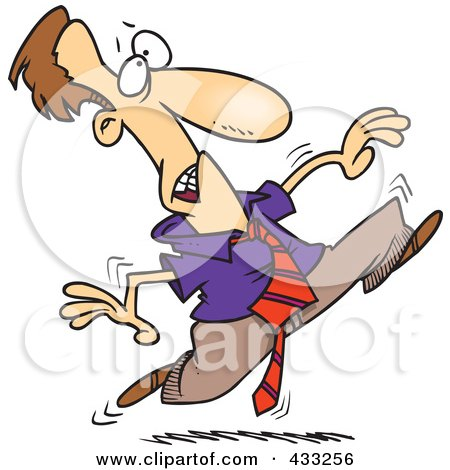 Royalty-Free (RF) Clipart Illustration of an Agitated Cartoon Businessman Running by toonaday