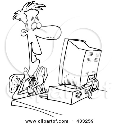 Royalty-Free (RF) Clipart Illustration of Coloring Page Line Art Of A Pleased Cartoon Businessman Sitting In Front Of A Computer by toonaday