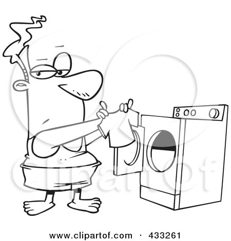 Cartoon of a boy dropping clothes and carrying a laundry for Laundry coloring pages