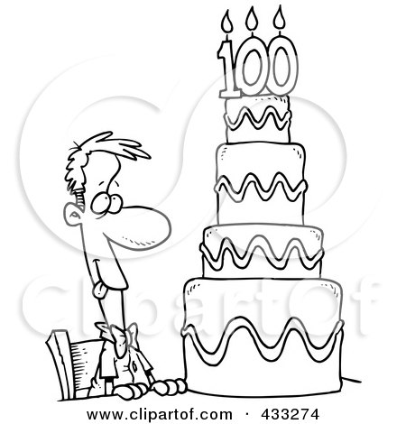 Coloring Page Line Art Of A Hungry Cartoon Guy Drooling Over A 100 Birthday Cake Posters, Art Prints