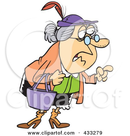 Royalty-Free (RF) Clipart Illustration Of A Wise Old Caucasian Woman Giving Advice by toonaday