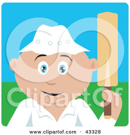 Clipart Illustration of a Sporty Caucasian Man Holding A Cricket Bat by Dennis Holmes Designs