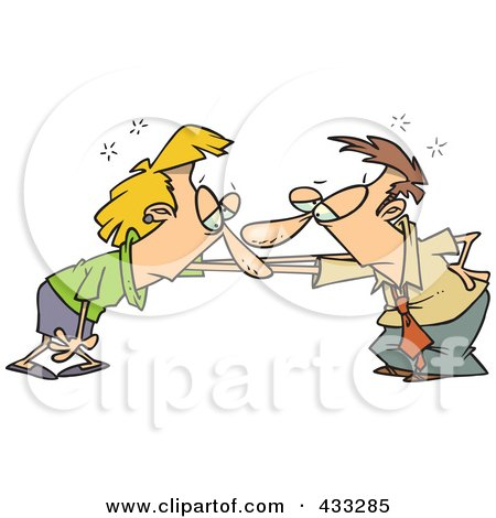Royalty-Free (RF) Clipart Illustration of a Couple Catching Their Breath After A Fight by toonaday