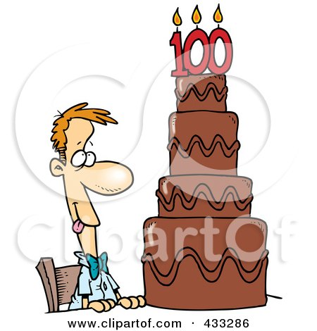 Hungry Cartoon Guy Drooling Over A 100 Birthday Cake Posters, Art Prints
