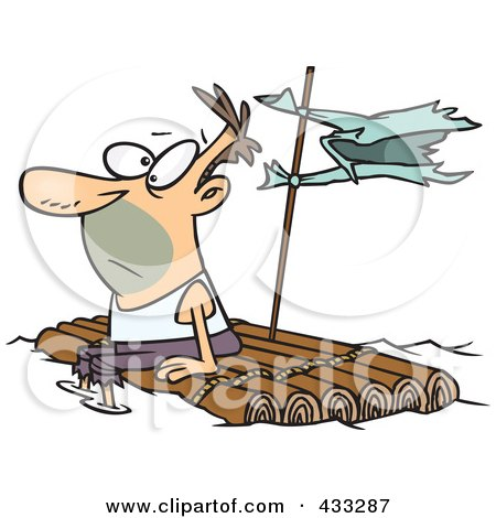 Royalty-Free (RF) Clipart Illustration Of A Caucasian Man Adrift On A Log Raft by toonaday
