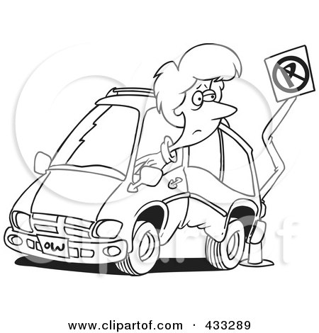 Royalty-Free (RF) Clipart Illustration of Coloring Page Line Art Of A Woman Backing Her Minivan Into A Pole by toonaday