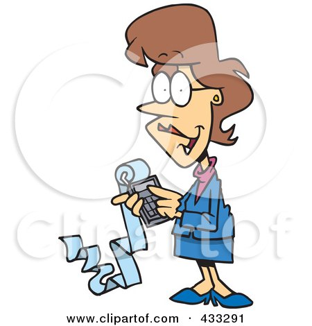 Royalty-Free (RF) Clipart Illustration of a Female Cartoon Accountant Holding A Calculator With A Long Strip Of Paper by toonaday