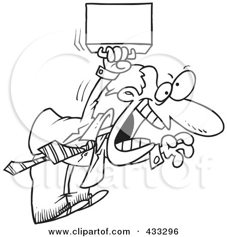 Royalty-Free (RF) Clipart Illustration of Coloring Page Line Art Of An Aggressive Cartoon Businessman Jumping by toonaday