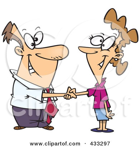 Royalty-Free (RF) Clipart Illustration of a Cartoon Businessman Shaking Hands With A Businesswoman, by toonaday