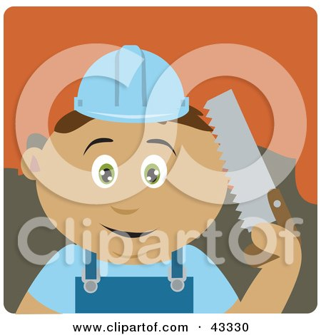 Clipart Illustration of a Hispanic Construction Worker Boy Holding A Saw by Dennis Holmes Designs