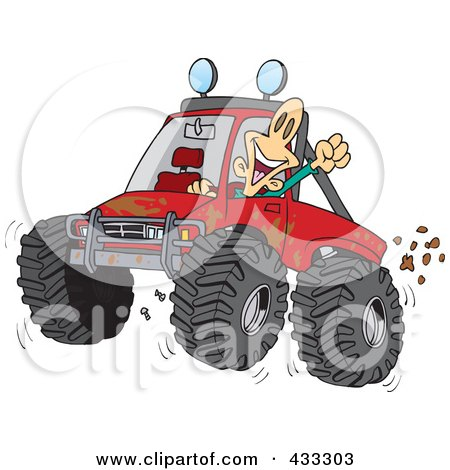 Excited Man 4wheeling His Truck Through Mud Posters, Art Prints