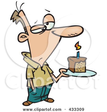 Royalty-Free (RF) Clipart Illustration Of A Grumpy Birthday Cartoon Man Holding A Slice Of Cake by toonaday