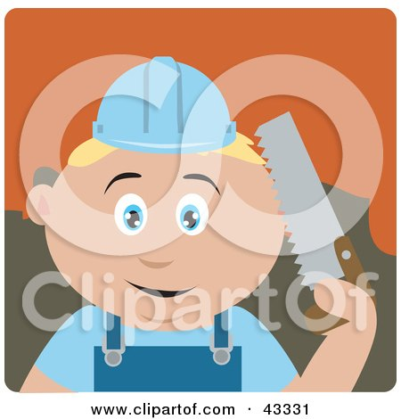Caucasian Construction Worker Boy Holding A Saw Posters, Art Prints