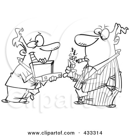 Royalty-Free (RF) Clipart Illustration of Coloring Page Line Art Of A Man Holding A Briefcase Open For His Boss As He Lights A Cigar With Cash by toonaday