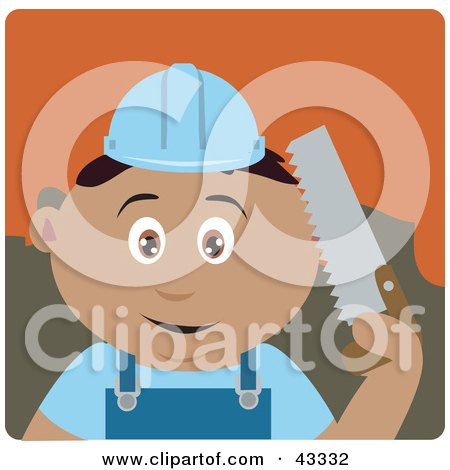 Clipart Illustration of a Latin American Construction Worker Boy Holding A Saw by Dennis Holmes Designs