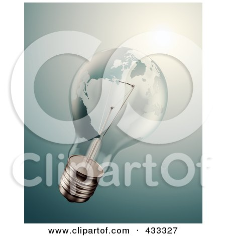 Royalty-Free (RF) Clipart Illustration Of A 3d World Energy Crisis Lightbulb by Mopic