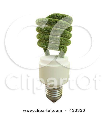 Royalty-Free (RF) Clipart Illustration Of A 3d Grassy Fluorescent Lightbulb by Mopic