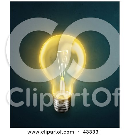 Royalty-Free (RF) Clipart Illustration Of A 3d Yellow Glowing Light Bulb by Mopic