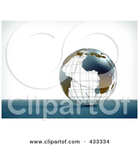Royalty-Free (RF) Clipart Illustration Of A 3d Atlantic And African Wire Globe by Mopic