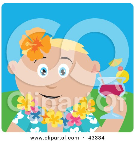 Clipart Illustration of a Caucasian Man In A Hawaiian Lei, Drinking A Cocktail On Vacation by Dennis Holmes Designs
