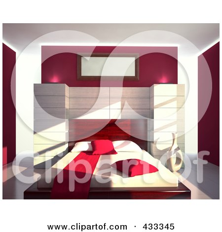 Royalty-Free (RF) Clipart Illustration Of A 3d Modern Bedroom Decorated In Red And White by Mopic