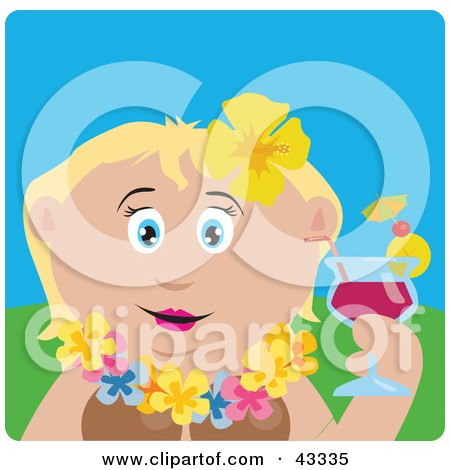 Clipart Illustration of a Caucasian Woman In A Hawaiian Lei, Drinking A Cocktail On Vacation by Dennis Holmes Designs