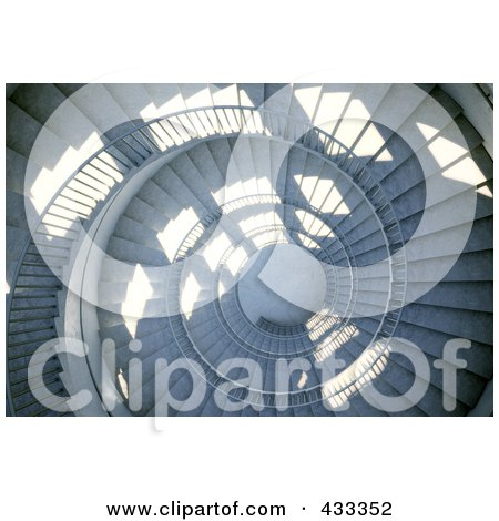 Royalty-Free (RF) Clipart Illustration Of A 3d Spiral Staircase by Mopic