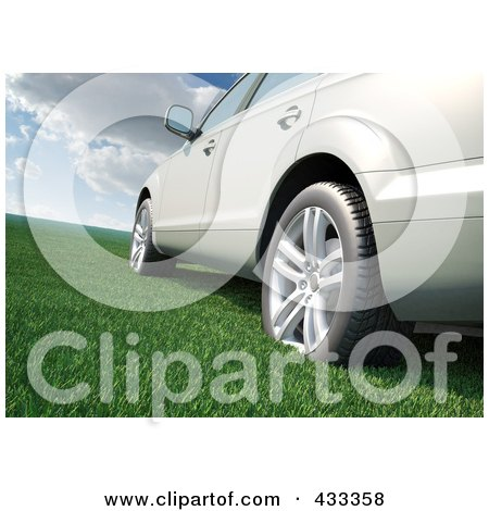 Royalty-Free (RF) Clipart Illustration Of A 3d Car On Grass by Mopic