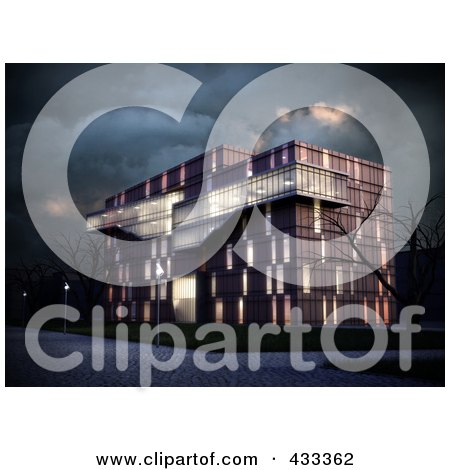 Royalty-Free (RF) Clipart Illustration Of A 3d Modern Office  Building With Bare Trees On A Stormy Night by Mopic