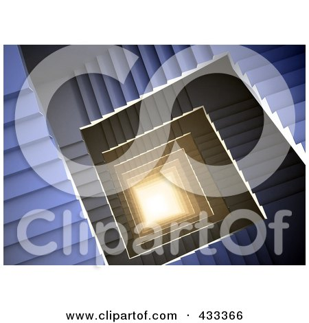 Royalty-Free (RF) Clipart Illustration Of A 3d Spiral Staircase With Light At The Bottom by Mopic