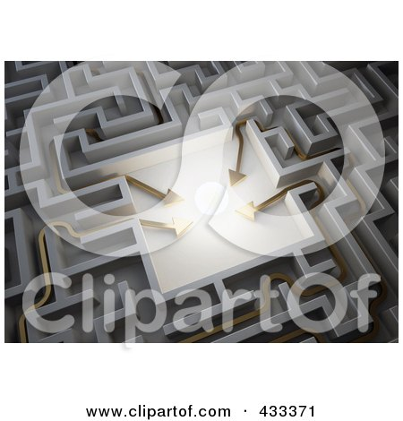 Royalty-Free (RF) Clipart Illustration Of Four 3d Arrows Leading To A Glowing Ball In The Center Of A Maze by Mopic
