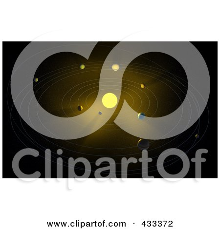 Royalty-Free (RF) Clipart Illustration Of A 3d Solar System With A Glowing Sun by Mopic