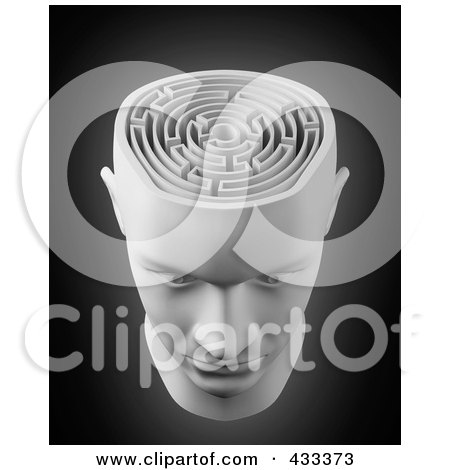 Royalty-Free (RF) Clipart Illustration Of A 3d White Male Head With A Labyrinth Brain by Mopic