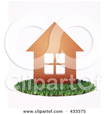Royalty-Free (RF) Clipart Illustration Of A 3d Brick House On A Patch Of Grass by Mopic