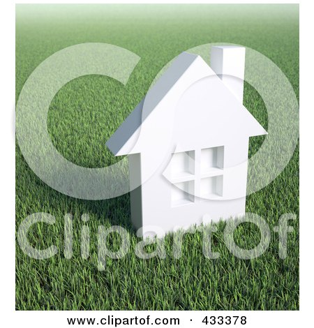 Royalty-Free (RF) Clipart Illustration Of A 3d White House In A Field Of Grass by Mopic