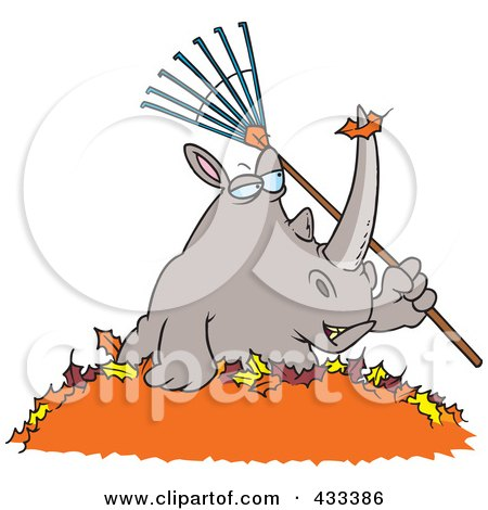 Royalty-Free (RF) Clipart Illustration Of A Rhino Holding A Rake In A Pile Of Leaves by toonaday