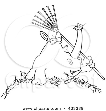 Royalty-Free (RF) Clipart Illustration Of Coloring Page Line Art Of A Rhino Holding A Rake In A Pile Of Leaves by toonaday