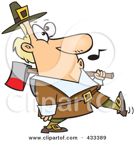 Royalty-Free (RF) Clipart Illustration Of A Whistling Pilgrim Carrying An Ax Over His Shoulder by toonaday