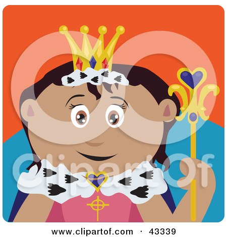 Clipart Illustration of a Royal Latin American Queen Holding A Staff by Dennis Holmes Designs