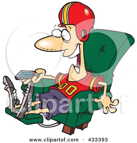 Royalty-Free (RF) Clipart Illustration Of A Football Fan Watching TV In An Arm Chair by toonaday