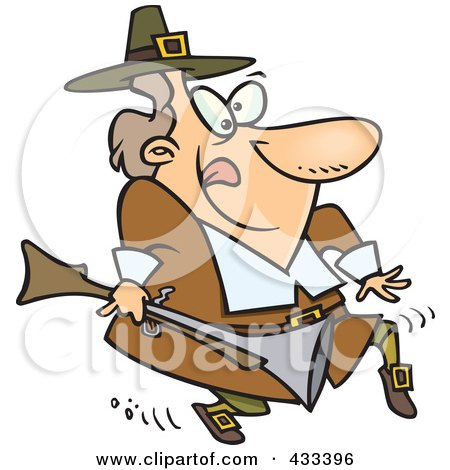 Royalty-Free (RF) Clipart Illustration of a Cartoon Pilgrim Tip Toeing And Carrying A Blunderbuss by toonaday