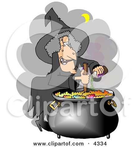 Witch Cooking a Potion in a Black Pot Posters, Art Prints