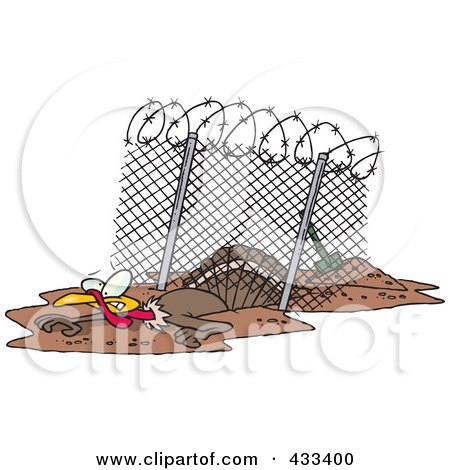 Royalty-Free (RF) Clipart Illustration Of A Turkey Bird Escaping Under An Enclosure by toonaday
