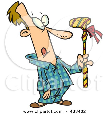 Royalty-Free (RF) Clipart Illustration Of A Man Holding A Wrapped Golf Club by toonaday