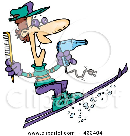 Royalty-Free (RF) Clipart Illustration Of A Skiing Hairstylist by toonaday