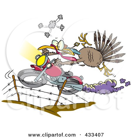 Royalty-Free (RF) Clipart Illustration Of A Turkey Bird Escaping On A Motorcycle by toonaday