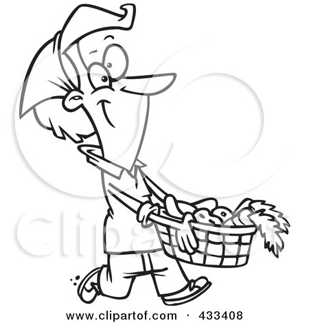 Royalty-Free (RF) Clipart Illustration Of Coloring Page Line Art Of A Woman Carrying A Harvest Basket by toonaday