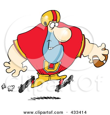 Royalty-Free (RF) Clipart Illustration Of A Football Player Running With The Ball by toonaday